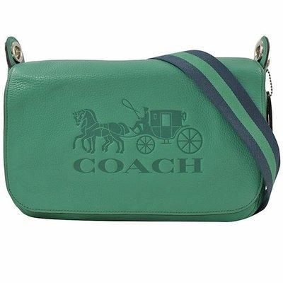 軒軒小店 COACH 72703 綠色 新款女式翻蓋 真皮 大馬車 馬鞍包 寬肩帶 側背包 單肩包