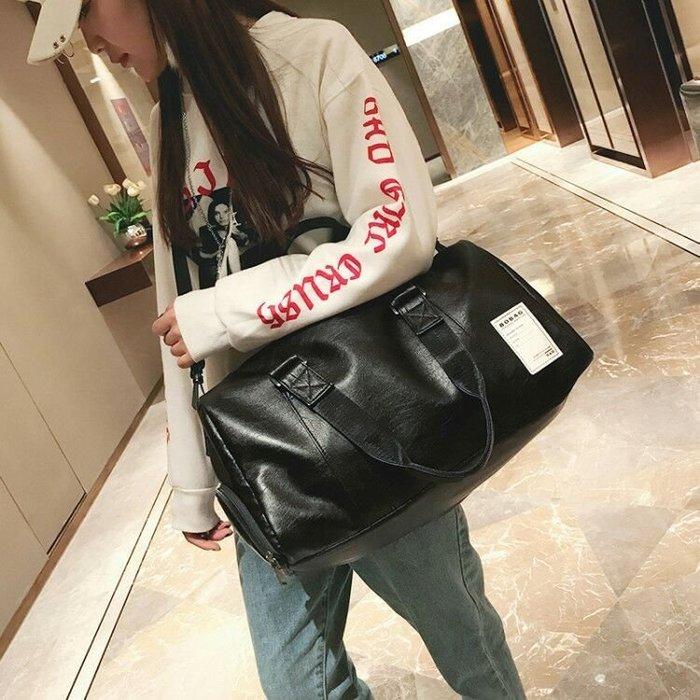 ☜男神閣☞短途旅行包男出差手提包女大容量旅游包簡約皮質行李包防水健身包