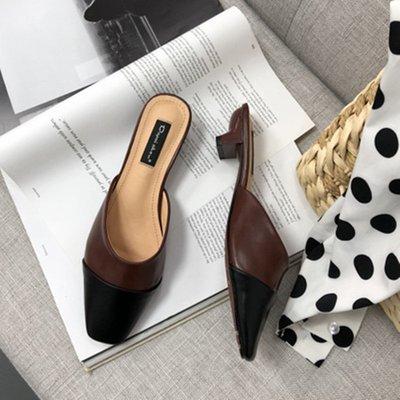 包頭半拖鞋女2018夏季新款韓版簡約性感漆皮方頭粗跟中跟涼拖外穿