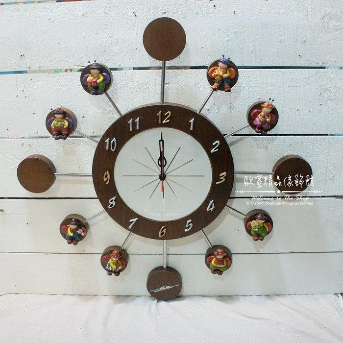 ~*歐室精品傢飾館*~鄉村風格 木製 可愛 摩天輪 造型 掛鐘 時鐘 瓢蟲 男孩 女孩 擺飾 裝飾 牆面~新款上市~