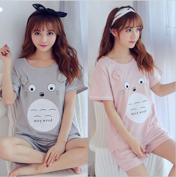 ANLIFE》女生短袖睡衣 居家服2件組 可愛甜美短袖短褲套裝 夏季薄款舒適清涼睡衣 可愛卡通龍貓睡衣L9105