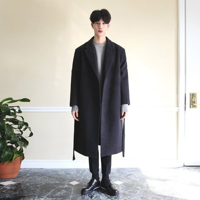 Chita Man + 大開領 綁帶式 長版大衣 四色