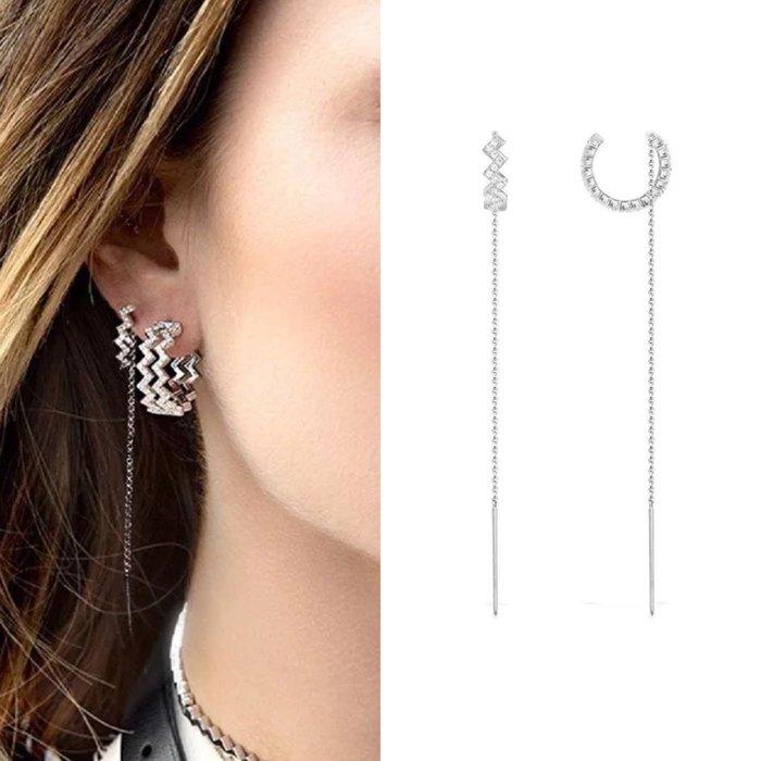 💎1495、精靈系女神仙美多戴式鋸齒微鑲耳環💎正韓飾品 耳環 珠寶 925純銀耳針