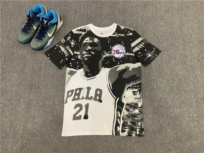 NBAT血職籃球星喬爾·恩比德(Joel Embiid)21號 費城76人隊  籃球運動T血  正版