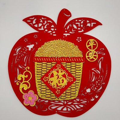 LANTERN 絨布五福臨門出入平安福字貼紙窗花客廳墻貼手工立體春節裝飾用品