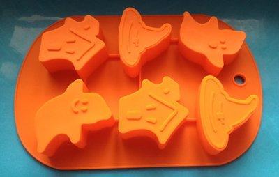矽膠模型 巧克力蛋糕烘培布丁果凍模 皂模~萬聖節鬼屋妖怪6連模  小丑魚 ~A148