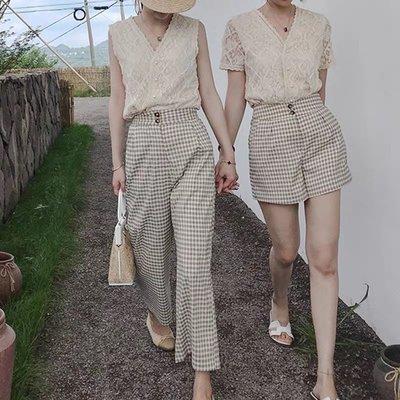 *Angel  Dance*上衣+格子褲兩件套(米色)@韓國 英倫復古風 閨蜜裝 兩件套 格紋 寬鬆 顯瘦@現貨+預購