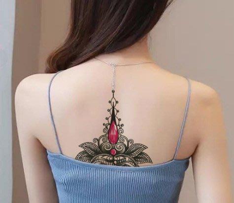 【萌古屋】花朵紅寶石胸部胸下背手臂大圖 - 男女防水紋身貼紙原宿刺青貼紙K03