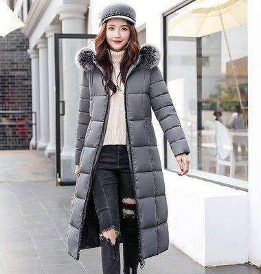 現貨 藍3XL 羽絨外套 棉服保暖大衣保暖防風1806實拍 款長款時尚韓版女裝大毛領羽絨服棉服大碼外套(F10