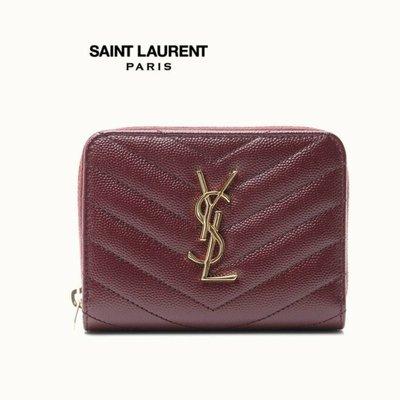 Saint Laurent Paris YSL (深酒紅色×金屬銀色)立體LOGO 真皮防刮壓紋中短夾 皮夾 錢包|100%全新正品