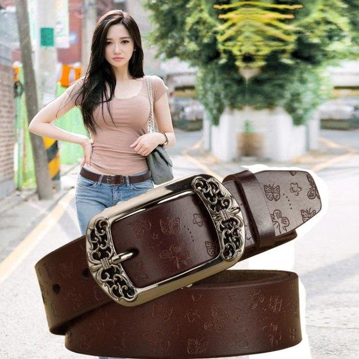 復古針扣女士皮帶韓版簡約百搭皮質褲帶休閒時尚裝飾寬腰帶