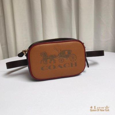 【紐約女王代購】COACH 寇馳75907 拼色寬版肩帶小相機包 1胸包腰包 綠色斜背包 女包 原裝正品 美國代購