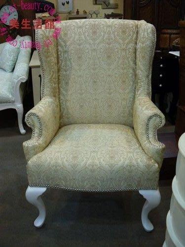 OUTLET限量低價出清設計師款 新古典凡賽斯 珍珠白/ 金 釘扣太師椅/主人椅/單人沙發--只有1 只