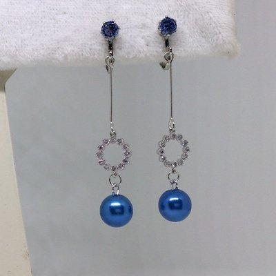 【艾法小舖】藍色合成鋯石綴圓環珍珠 無耳洞 螺旋耳夾夾式耳環(手作款)