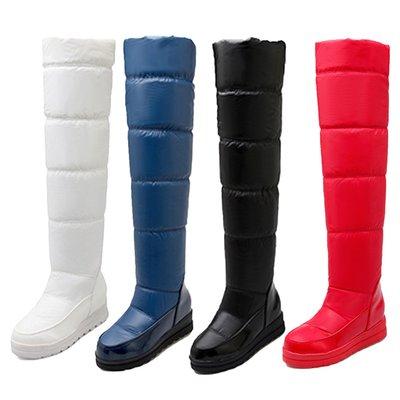 包郵 大碼女靴 LONG BOOTS 黑/白/紅/藍色 冬天大碼雪地靴 日本厚底保暖鞋 高筒靴 女長靴 大腿靴 內增高 VANCY 34-43碼 SB72