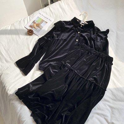半身裙 針織裙推薦氣質復古設計感絲絨襯衫+褶皺拼接松緊腰絲絨半身裙套裝