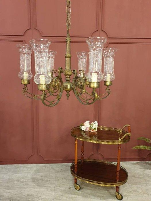 【卡卡頌  歐洲古董】稀有 ! 法國百年古董  手工玻璃 純銅雕刻  細膩古典  吊燈  主燈   l0277