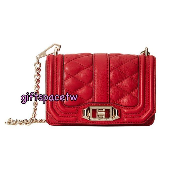 美國設計師Rebecca minkoff  mini love Bag 小香boy 菱格鏈帶包 紅色 金鍊 現貨特價