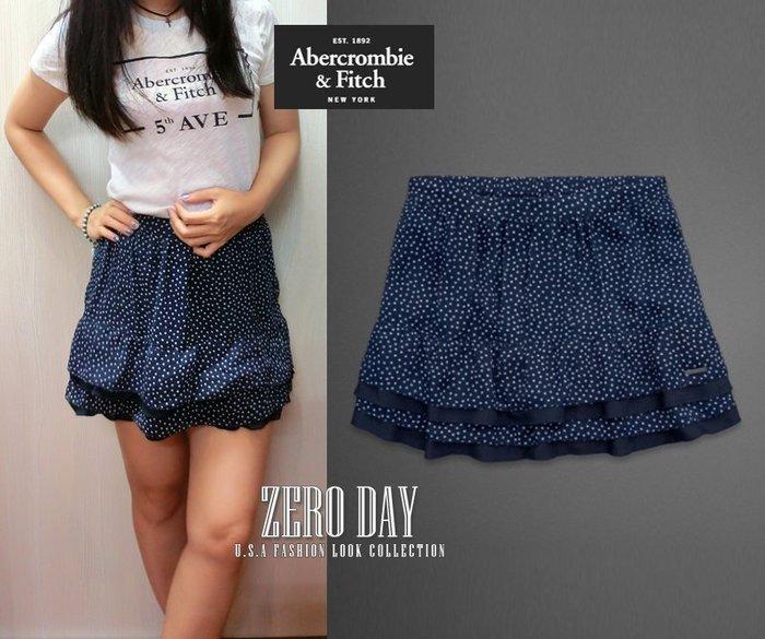 【零時差美國時尚網】A&F Abercrombie&Fitch Drew Skirt小圓點藍色雪紡短裙