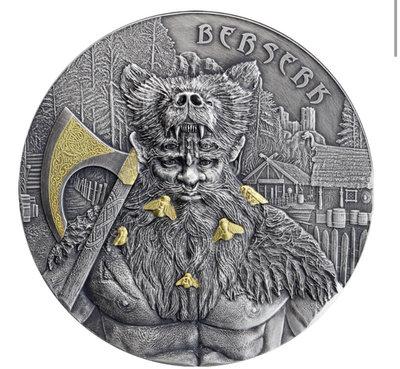 2019 德國 狂戰士 2 盎司 銀幣 PCGS 金盾 MS69 鑑定幣 高浮雕 Germania Berserk