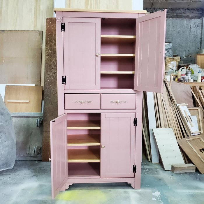 美生活館 家具訂製 鄉村風格 茵儷 雙色 淺木加杏粉色 兩抽四門 高鞋櫃 收納櫃 玄關櫃 置物櫃 衣帽櫃