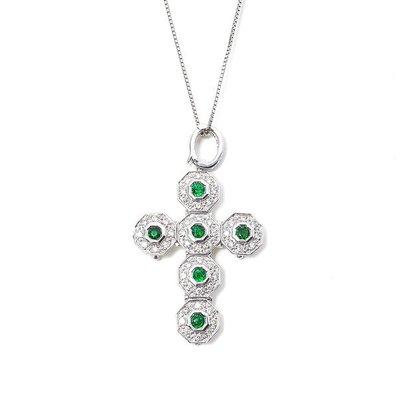 【JHT 金宏總珠寶/GIA鑽石專賣】0.52ct天然沙佛來十字架鑽墜/材質:18K(D000002)