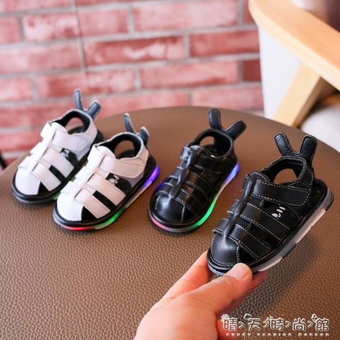 男女童嬰兒包頭涼鞋亮燈沙灘鞋 寶寶學步鞋軟底防滑0-1-2歲潮
