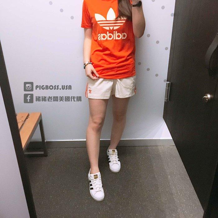 【豬豬老闆】ADIDAS ORGINALS 米白橘 三線 運動 休閒 熱褲 短褲 女款 DU9854