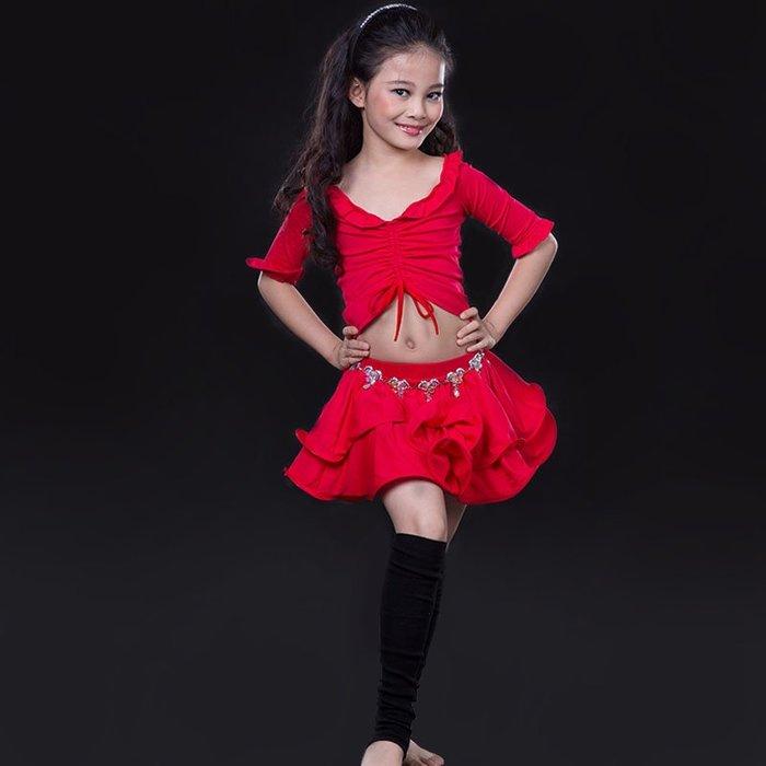 5Cgo【鴿樓】兒童肚皮舞練功服舒適柔和可拉伸上衣保暖蓬蓬短裙夏新款印度舞蹈服裝練習服套裝543560813402