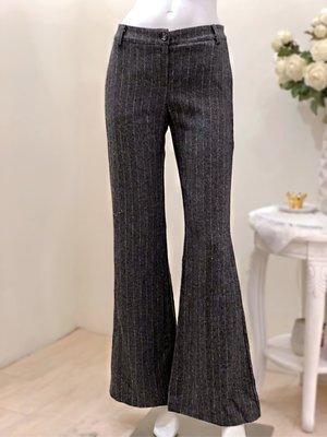 義大利 OLIVIA HOPS 條紋寬筒毛料長褲(灰黑黃)