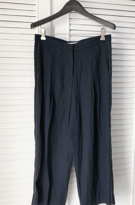 原價五萬多 FABIANA FILIPPI 深藍色側邊珠繡寬管闊腿褲