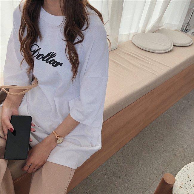 FINDSENSE G6 正韓女裝上衣 2019新款字母印花簡約長T素T棉T圓領寬鬆T短袖女T恤網紅商品女t-shirt