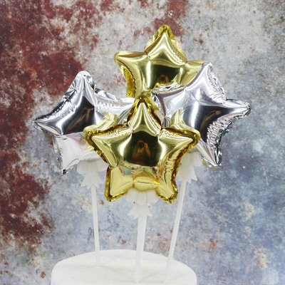 蛋糕裝飾 餐盒 蛋糕裝飾鋁箔氣球星星氣球插件生日派對甜品臺裝扮自動充氣5枚 哆啦A夢的手提袋 嘉義市