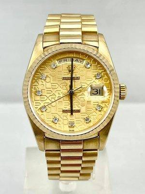 永鑫典精品 盒單齊全 ROLEX 勞力士 18238 紅蟳 18K金錶 盒單齊全 原裝 手錶 男錶 名錶 瑞士錶