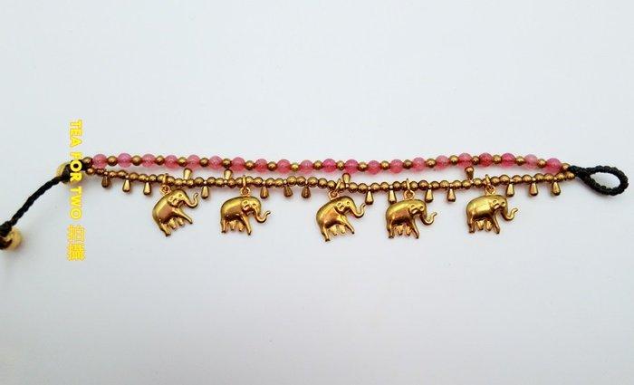 泰國現貨NO1,民俗風手鍊(雙層),泰國現貨NO1,民俗風手鍊(雙層),粉金色大象