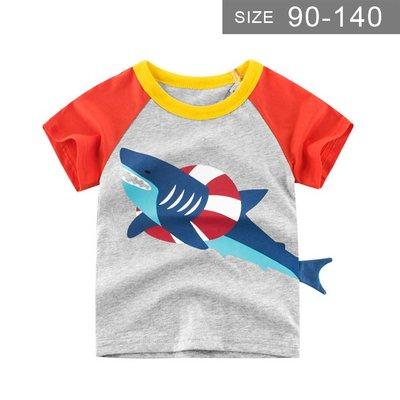 男童短袖T恤。ROUROU童裝。夏男童中小童100%棉鯊魚造型圓領短袖T恤 0121-447