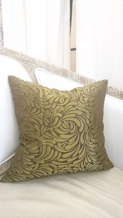 [C041]高檔緹花布 重複瓣古銅金圖騰 45*45公分 抱枕 低調奢華 現代 美式 棉心另購