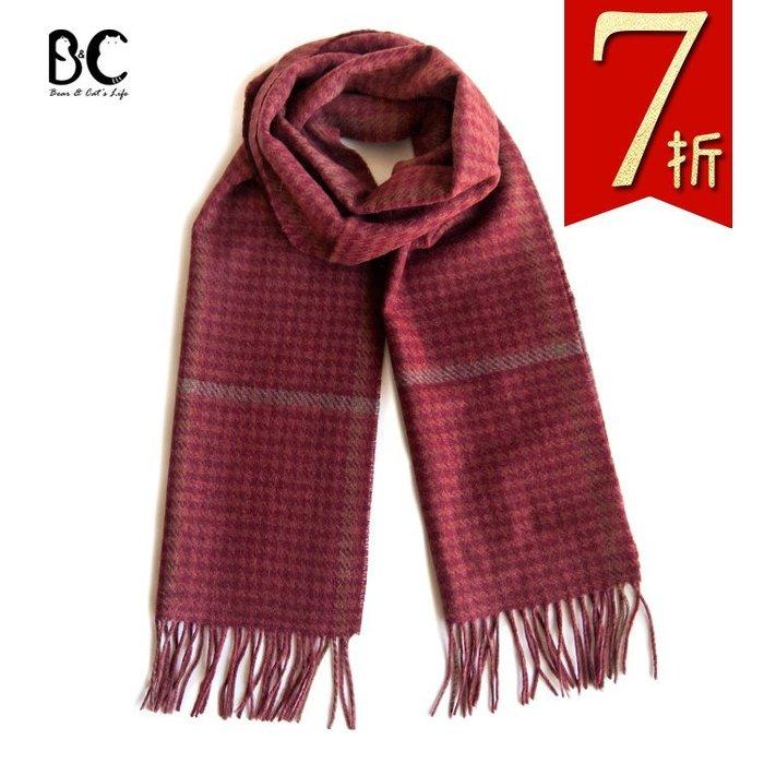 同SHOKAY100%氂牛絨圍巾經典千鳥紋極致保暖圍巾