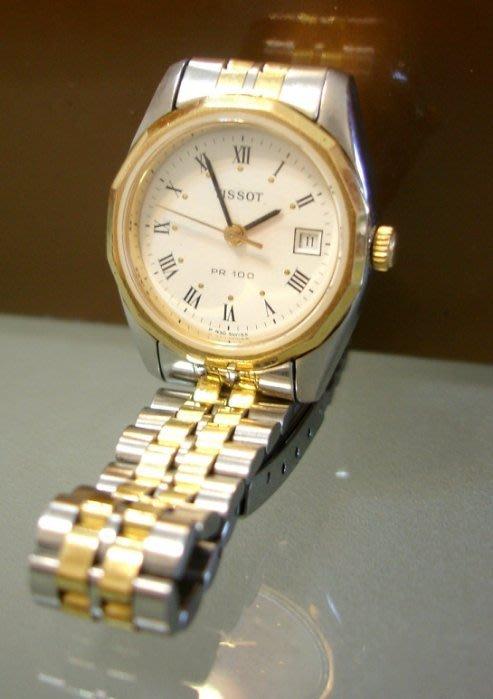 瑞士Tissot 天梭PR100女性 羅馬時刻 Oyster蠔式厚不鏽鋼日曆錶 絕版真品