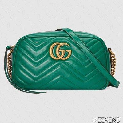 【WEEKEND】 GUCCI GG Marmont Small 小款 皮革 山形紋 肩背包 相機包 綠色 447632