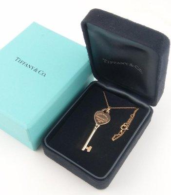 (可缐上無息分期刷卡)Tiffany&Co  18k 玫瑰金 750  項鍊  .鍊長38cm.不含墬..墬尺寸4x1.30cm