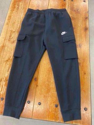 全新S號 NIKE NSW STANDARD FIT 工裝口袋 黑色刷毛 縮腳棉褲 男 CD3130-010