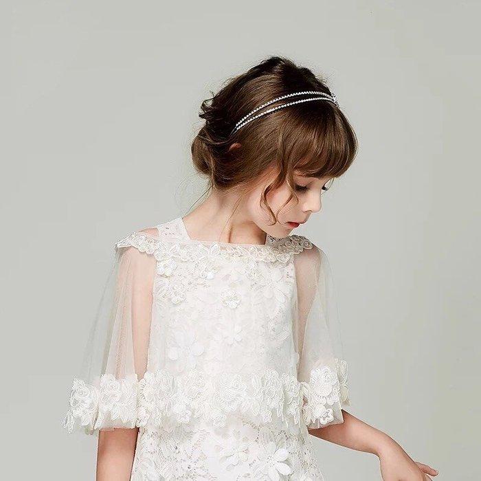 披肩 兒童披肩夏季花童禮服公主裙蕾絲披風薄款婚紗裙裝飾披肩甜美 現貨--崴崴安兒童館