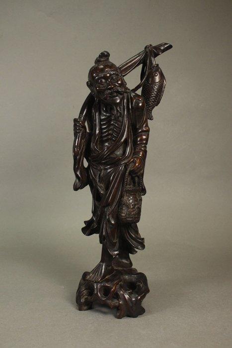 悅年堂 --- 清代 木 雕 魚翁