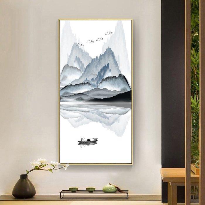 新中式水墨山水風景裝飾畫畫芯客廳玄關掛畫高清微噴畫布