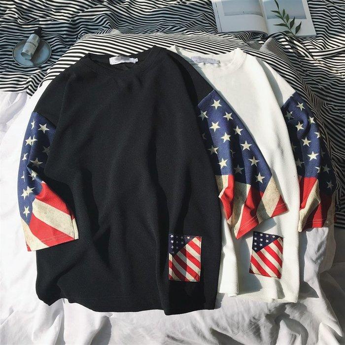 TST- 拚色 國旗 印花 寬鬆 大尺寸 oversize 落肩五分袖 短袖T恤 短T 情侶款美式西岸