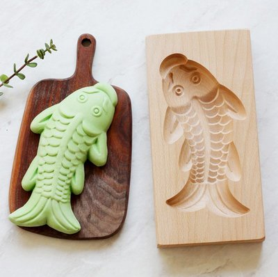 糕餅木製模具-鯉魚造型模具 月餅模具 動物饅頭模具 糕點 綠豆糕 南瓜餅模具(20CM)_☆找好物FINDGOODS☆