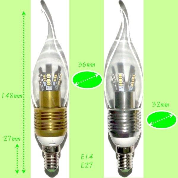 5Cgo【權宇】LED 3014 5W=60W 拉尾蠟燭燈泡 360度低溫超亮 E14/E27 另E17/B22/E12