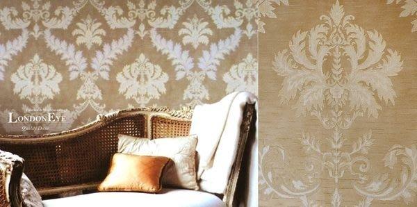 【LondonEYE】奢華璀璨COLOR系列 • 施華洛世奇水鑽 • 巴洛克大馬士革壁紙 • 摩卡金/粉磚