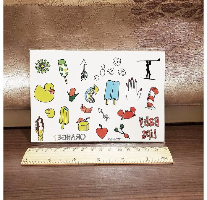 【萌古屋】冰淇淋小鴨 - 手背防水紋身貼紙刺青貼紙QS-B022 K41